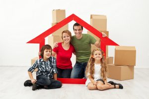 Moving graphic - family with boxes behind them moving in Greensboro NC