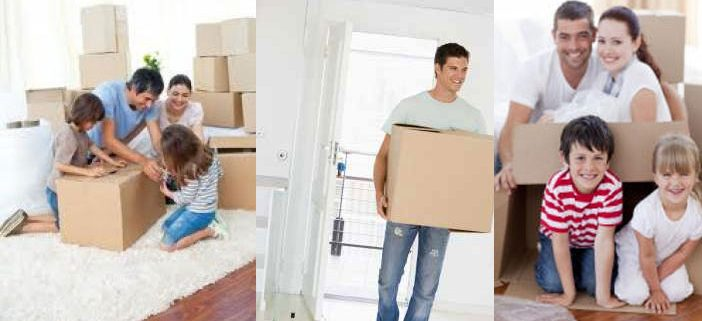 Photo of a family moving from a house